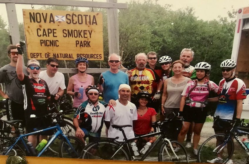 A group of cyclists at the top of Smokey Mountain in 2012. Contributed • Paul MacDougall