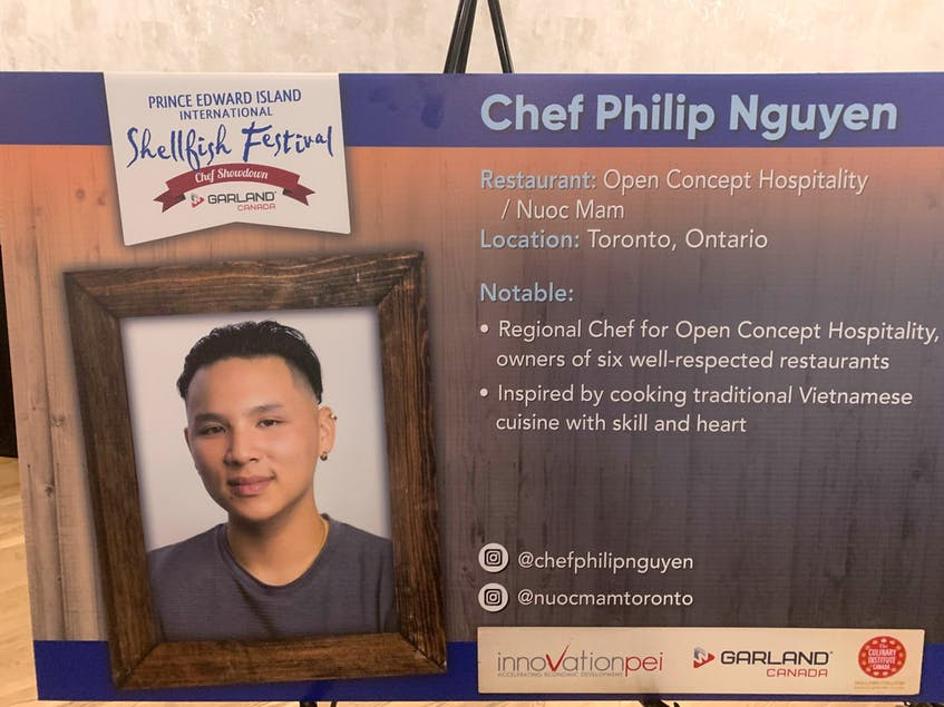 Information on one of the chefs that will be taking part in the P.E.I. International Shellfish Festival this year was displayed at a news conference in Charlottetown on Aug. 5. - Dave Stewart