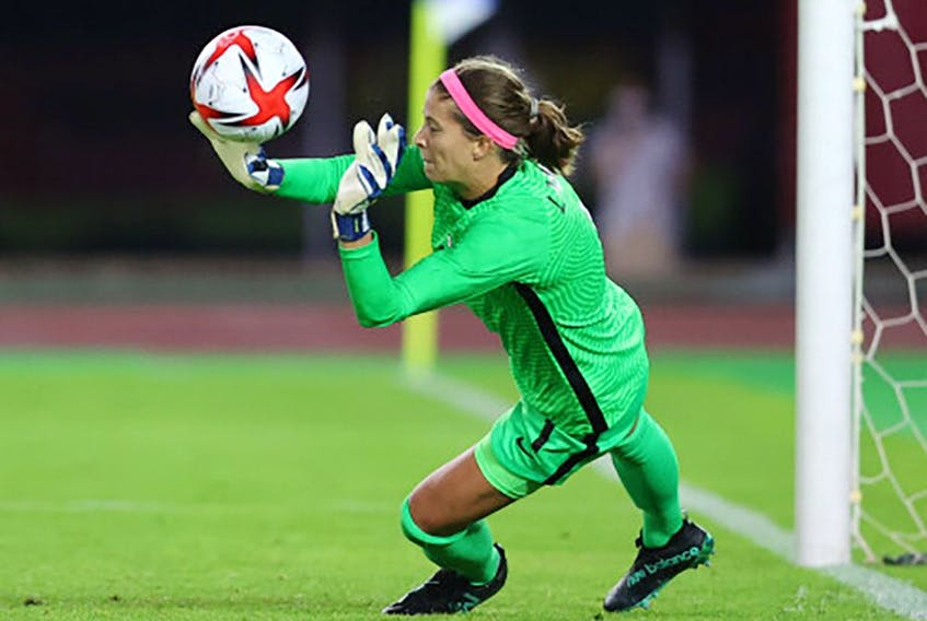Tokyo 2020 Olympics – Soccer Football – Women – Quarterfinal – Canada v Brazil – Miyagi Stadium, Miyagi, Japan – July 30, 2021. Stephanie Labbe of Canada saves a penalty during a penalty shootout