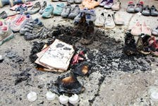 Calgary police are investigating a small fire that occurred at the residential school memorial outside city hall last night. Wednesday, August 4, 2021.