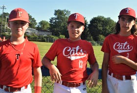 Three members of the Truro Bearcats U13 AAA baseball team, Reid MacDonald (left), Austin Brown, and Malky Murphy, have been selected for the provincial team which will be traveling to Newfoundland for the Sept. 16 to 19 Atlantic's championship.