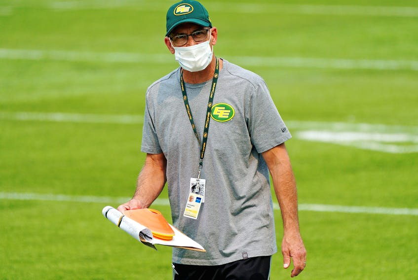 Edmonton Elks special teams co-ordinator Chris Rippon monitors training camp in Edmonton on July 15, 2021. COVID protocols have forced a cancellation of practice Friday, Aug. 6, 2021, one day ahead of their 2021 CFL season opener.