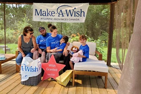 Gideon O'Neal releases, surrounded by family, including sister Willow O'Neal, parents Stephanie Schaffner and Matthew O'Neal, and grandmother Kim Smith, at his new gazebo in Middleton.