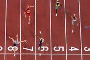 The men's 4 x 100m relay final at the 2020 Tokyo Olympics.