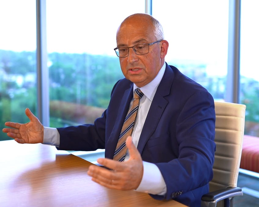 NDP Leader Gary Burrill answers questions during a recent editorial board meeting with Saltwire journalists. - Contributed