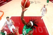 Precious Achiuwa playing for Nigeria at the Olympics. The Raptors were happy to land Achiuwa. Gregory Shamus/Getty Images.