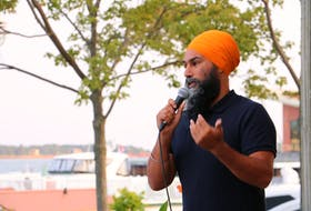 Federal NDP leader speaks to a crowd of supporters in Charlottetown on August 9, 2021. A Federal election call is expected imminently.