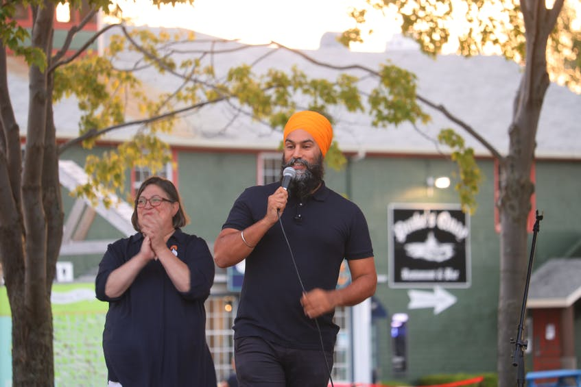 NDP leader Jagmeet Sing speaks to a crowd of supporters in Charlottetown, P.E.I. on August 9. - Stu Neatby