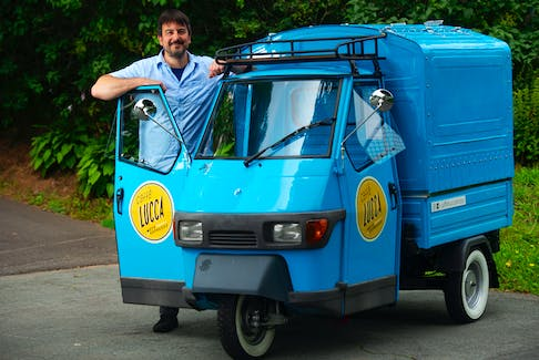 Trevor Benesch poses for a photo with his Piaggio Ape vehicle near his Dartmouth home on Monday, Aug. 8, 2021. Benesch started up his Caffe Lucca Italian coffee bar business late last month and will be at Shubie Park in the morning Thursday to Sunday.