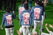 Canada's athletes walk across the field during the closing ceremony of the Tokyo 2020 Olympic Games, on August 8, 2021 at the Olympic Stadium in Tokyo.