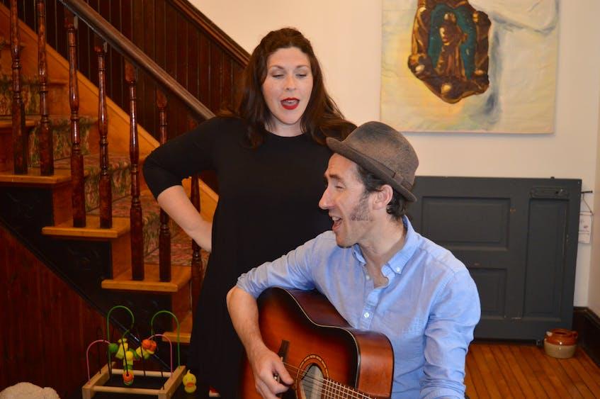 Charlottetown musician Gordie MacKeeman, sitting with the guitar, is releasing a children's folk album on Sept. 17. Accompanying him on vocals is his wife, Jill MacKeeman. - Dave Stewart