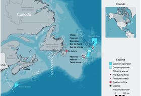 This map outlines Equinor's offshore assets in Newfoundland and Labrador. — EQUINOR