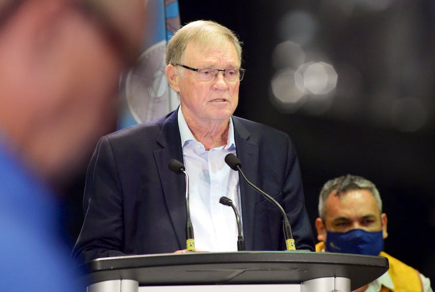 """Professor Don McRae speaks at a news conference about """"The Followup Report to the Canadian Human Rights Commission on the Human Rights of the Innu of Labrador."""" Keith Gosse/The Telegram"""