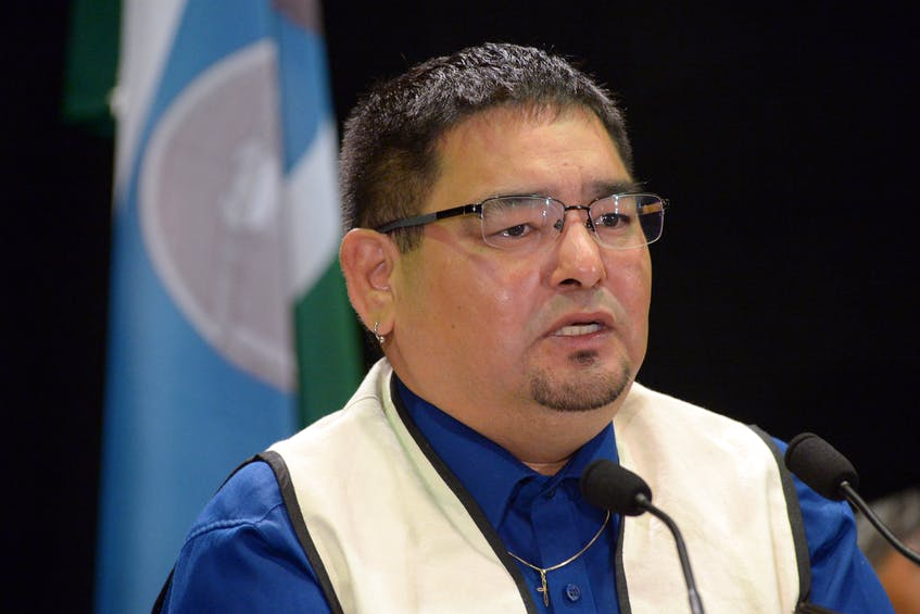 """Innu Nation Grand Chief Etienne Rich speaks at a news conference about """"The Followup Report to the Canadian Human Rights Commission on the Human Rights of the Innu of Labrador"""" on Monday, Aug. 9 in St. John's. — Keith Gosse/The Telegram"""