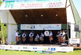 Among those performing at past Acoustic Roots Festivals was the Cape Breton University Pipe Band in 2019. CONTRIBUTED