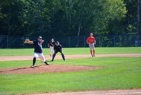 Charlottetown Gaudet's Auto Body Islanders pitcher J.P. Stevenson worked nine solid innings against the Saint John Vitos in Game 3 of the best-of-seven semifinal series in the New Brunswick Senior Baseball League on Aug. 31. The Alpines won the game 5-4 in 11 innings. Game 4 is at Memorial Field in Charlottetown on Sept. 1 at 8 p.m.