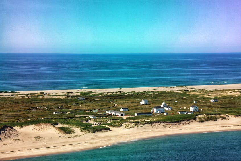 A look at the main station on Sable Island from the helicopter above. - Darcy Rhyno