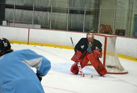 Goaltender Jacob LeBlanc prepares to face a shot during the Charlottetown Islanders' training camp on Aug. 31. The Quebec Major Junior Hockey League team is holding its training camp at the APM Centre in Cornwall. LeBlanc played last season with the Summerside D. Alex MacDonald Ford Western Capitals of the Maritime Junior Hockey League.