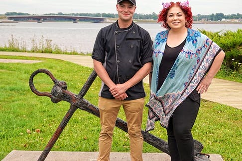 Chef Ilona Daniel teamed up with Sailor First Class Travis Burke of the HMCS Oriole to prepare a meal for the sailors during a recent visit to Charlottetown, PEI.