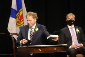 Allan MacMaster, the MLA for Inverness and the PC's former house leader, after being sworn-in as a member of the new government's cabinet, in Halifax on Tuesday. MacMaster is now the finance minister, the minister responsible for Gaelic Affairs and the deputy premier. TIM KROCHAK • SALTWIRE NETWORK