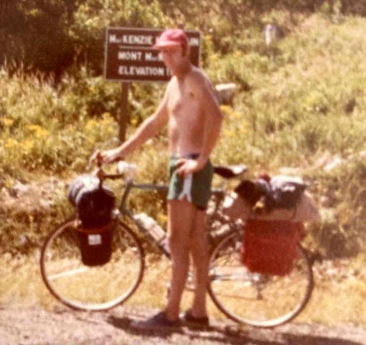 Chris MacInnis of Coxheath during one of his early rides around the Cabot Trail. The year the photo was taken is unknown, but MacInnis recently completed his 45th consecutive trip since 1976. CONTRIBUTED • JOHN MACINNIS