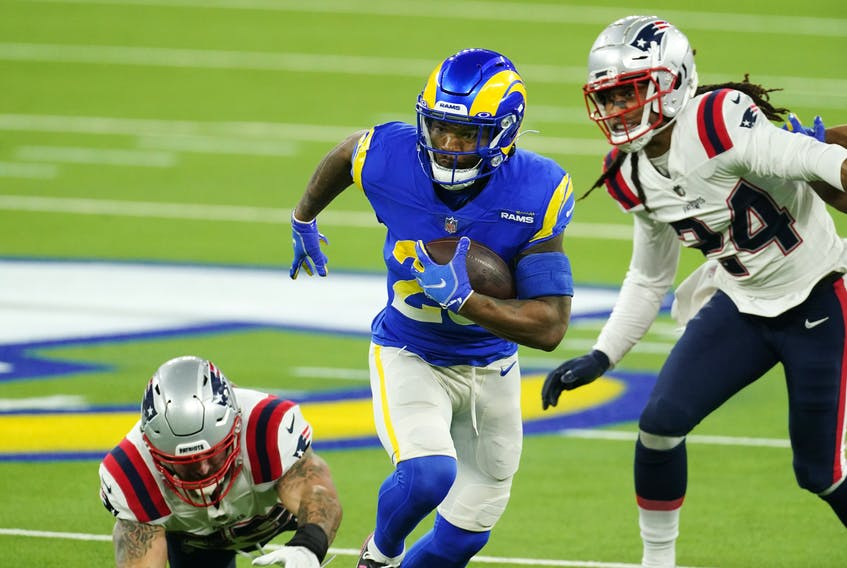 The Los Angeles Rams take on the New England Patriots in a National Football League contest in 2020. Single-game sports betting has finally come to Canada, widening the field for data and wagering companies. Kirby Lee / USA TODAY Sports