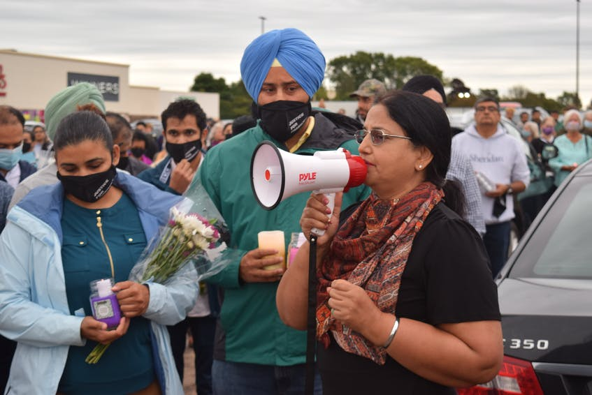 Maritime Sikh Society president Simardeep Hundal at the start of the march by the Truro Mall. - Chelsey Gould