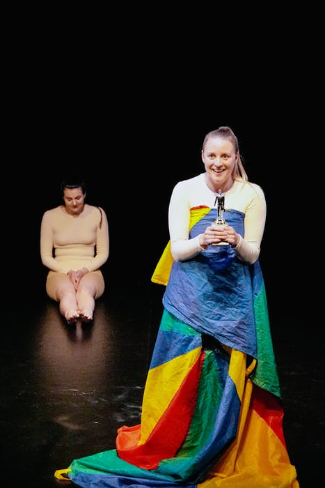Julianna McCarthy (back) and Melissa Williams (front) perform as A and B in M.L. Gardiner's