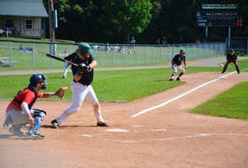 Charlottetown Gaudet's Auto Body Islanders catcher Logan Gallant swings at a pitch against the Saint John Alpines during Game 2 in the best-of-seven semifinal series in the New Brunswick Senior Baseball League semifinal series at Memorial Field on Aug. 29. Gallant delivered the game-winning hit – a two-run single with two outs – in the top of the 10th inning of Game 7 on Sept. 9 that gave the Islanders a 2-0 road win in Game 7. The Islanders open the best-of-seven league final in Moncton, N.B., against the Fisher Cats on Sept. 12 at 7 p.m. Game 2 is in Charlottetown on Sept. 13 (time to be announced).