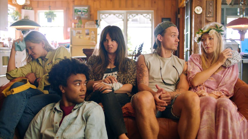 The siblings of the Finley-Cullen family struggle to run their aging South Shore resort in the Nova Scotia shot comedy series Moonshine. Pictured from left to right: Anastasia Phillips, Alexander Nunez, Emma Hunter, Tom Stevens and Jennifer Finnigan. - CBC