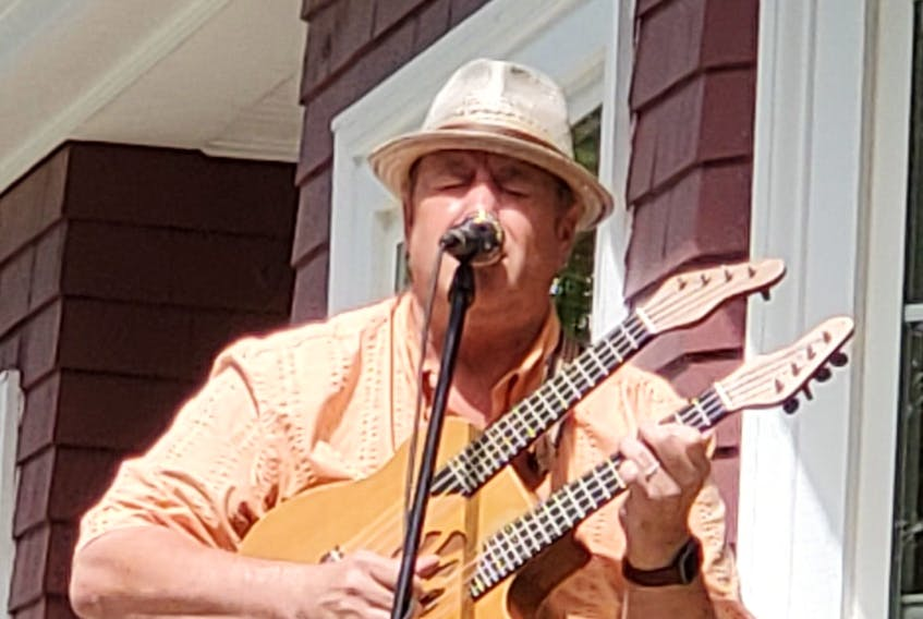 Shelburne blues musician Manitoba Hal Brolund gave a play music on the porch concert in his hometown recently. Brolund, who has been the executive director  at the Osprey Arts Center for close to two years, is going back to performing full-time. Contributed