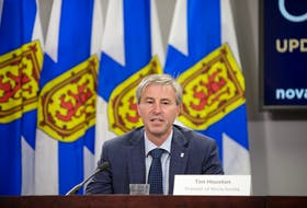 Nova Scotia Premier Tim Houston speaks at a COVID-19 briefing in Halifax on Wednesday, Sept. 8, 2021.