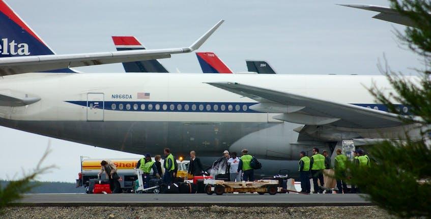 Stranded passengers on Sept. 11, 2001. - Joseph Gibbons