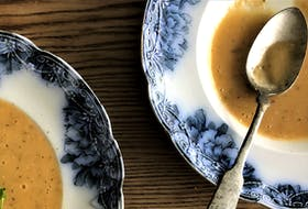 Mark DeWolf creates an intensely flavourful soup from roasted garlic and stale bread.