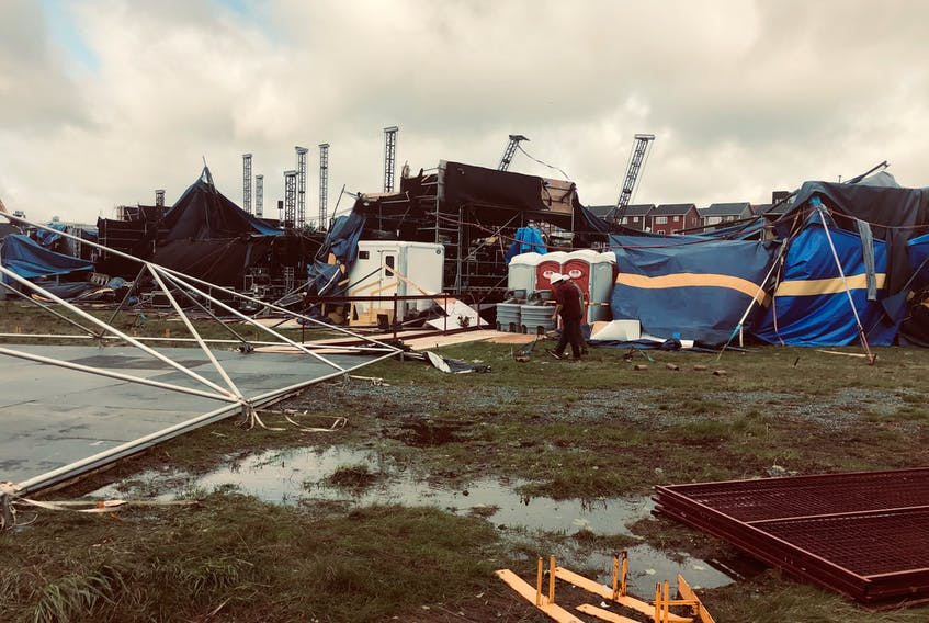 The IceBerg Alley Performance Tent at Quidi Vidi Lake in St. John's, N.L. was destroyed by hurricane Larry on Sept. 10-11, 2021.