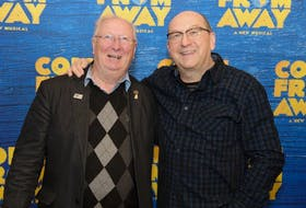 """Dermot Flynn (left) of Appleton remains in touch with plenty of people he has come to know since the town hosted about 100 people in the aftermath of 9/11. Flynn is pictured with actor Joel Hatch, who plays Flynn in the Broadway musical """"Come From Away,"""" which is about Newfoundlanders' response to thousands of airline passengers and crew being stranded in the province after the terrorist attacks in the U.S."""