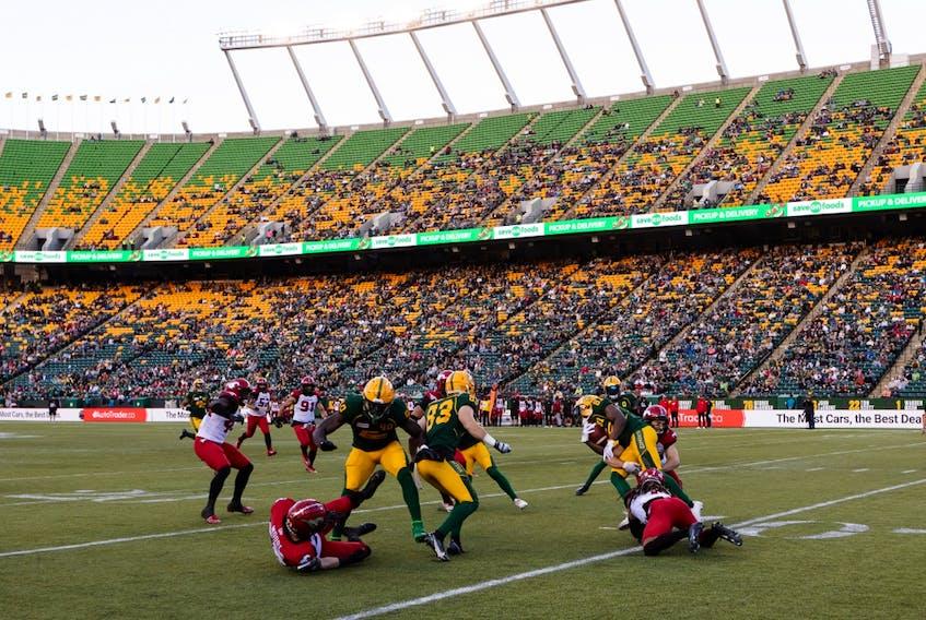 The Edmonton Elks battle the Calgary Stampeders at Commonwealth Stadium in Edmonton on Saturday, Sept. 11, 2021.