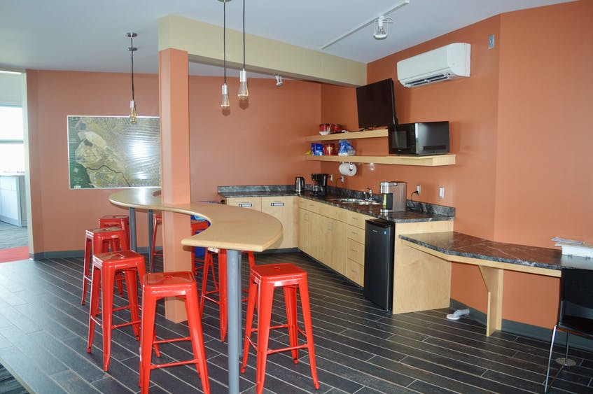 The new 45 Drives building has many amenities, including this state-of-the art coffeeshop that never closes. DAVID JALA/CAPE BRETON POST - David Jala