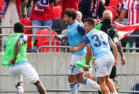 HFX Wanderers striker Joao Morelli (22) celebrates his game-winning goal in the 89th minute Saturday afternoon against the host Atletico Ottawa. The Wanderers won the game 2-1 in Ottawa. - Andre Ringuette / CANADIAN PREMIER LEAGUE