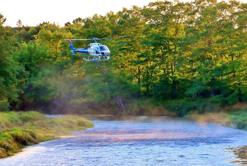 An RCMP helicopter pilot hovered his vessel low to the water just before the sun went down in Middleton Sept. 11. They were called in to assist with a search for a missing swimmer. ADRIAN JOHNSTONE