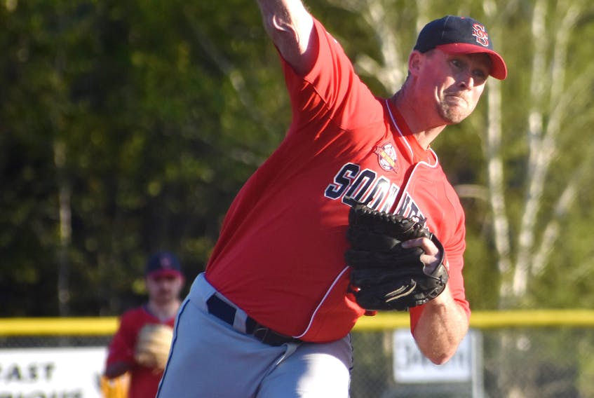 Sheldon MacDonald, shown in action during the 2019 season, was the winning pitcher in the Sydney Sooners 4-3 victory over the Kentville Wildcats on Saturday in Sydney. The Sooners swept the best-of-five semifinal series and will advance to the Nova Scotia Senior Baseball League championship series. JEREMY FRASER/CAPE BRETON POST