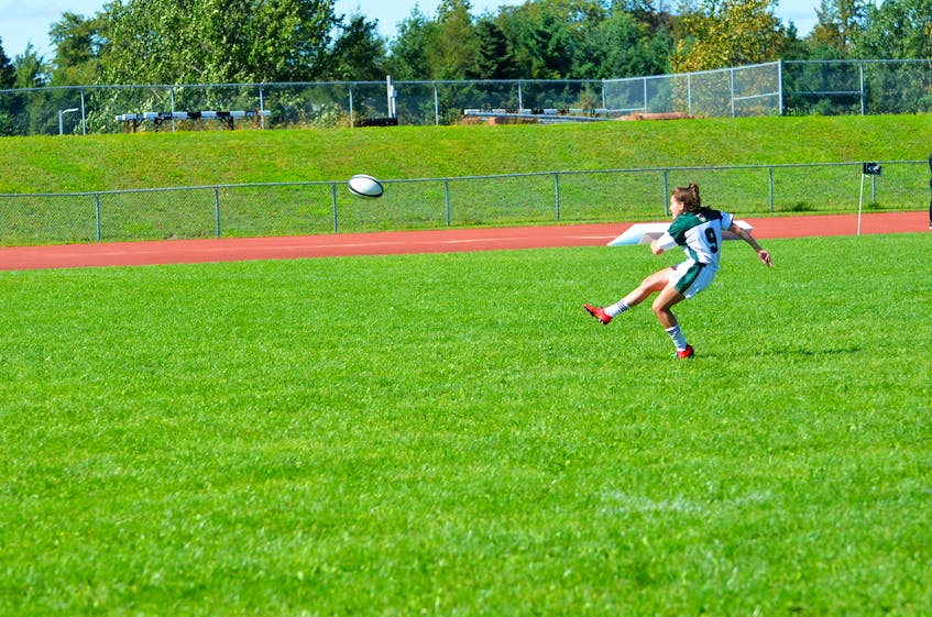 Mia Fradsham kicks a successful convert for the UPEI Panthers against the St. Francis Xavier X-Women in an Atlantic University Sport women's rugby game on Sept. 11. Fradsham was named the player of the game in the Panthers' 38-31 win. - Jason Simmonds