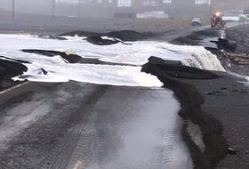 A section of Route 90 along St. Vincent's Beach, N.L. suffered damage in hurricane Larry on Sept. 10-11, 2021.