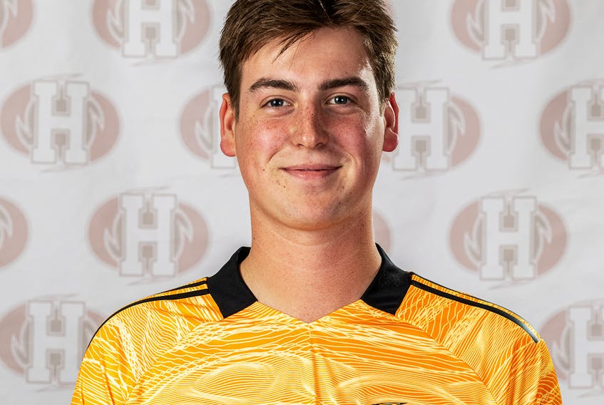 Keegan MacKinnon of the Holland Hurricanes stopped four shots in a scoreless draw with the St. Thomas Tommies on Sept. 12. The Hurricanes completed the opening weekend of the Atlantic Collegiate Athletic Association (ACAA) men's soccer regular season with a win and a tie. The Hurricanes' home opener is against the University of King's College Blue Devils at the Terry Fox Sports Complex in Cornwall on Sept. 18. Holland College Photo