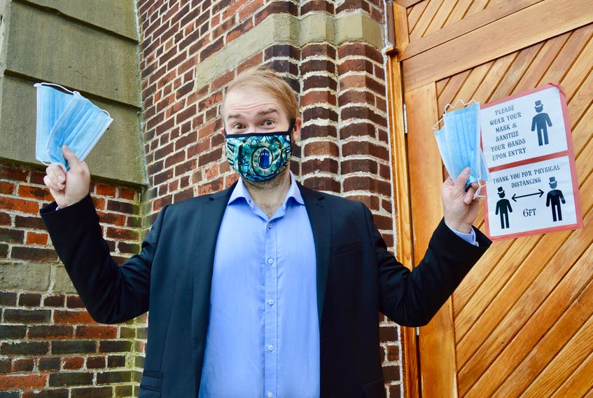 For Highland Arts Theatre artistic director Wesley Colford, running a theatre during a pandemic has come with many challenges including making sure everyone is wearing a mask and remaining socially distanced. On Wednesday, those rules will no longer be mandatory although Colford and other theatre administrators will still be encouraging people to put on a mask when they attend shows. ELIZABETH PATTERSON/CAPE BRETON POST