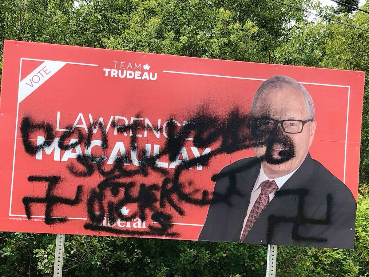 A campaign sign for Cardigan riding Liberal candidate Lawrence MacAuley was vandalized with images of swastikas, male genitals and some offensive language. MacAuley's campaign officials said the vandalism is believed to have happened around 2 p.m. on Friday, Sept. 10.