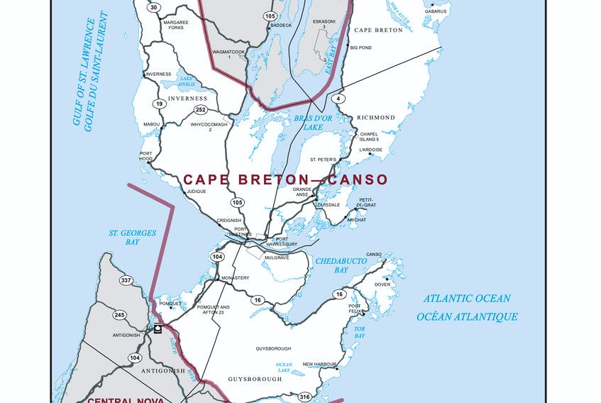 This map outlines the federal riding of Cape Breton-Canso for the Sept. 20 election. CONTRIBUTED