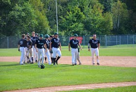 The Charlottetown Gaudet's Auto Body Islanders celebrate a walk-off win against the Saint John Alpines in Game 2 in the best-of-seven semifinal series in the New Brunswick Senior Baseball League semifinal series at Memorial Field on Aug. 29. The Islanders return to Memorial Field for Game 2 in the best-of-seven final series against the Moncton Fisher Cats on Sept. 13 at 7:30 p.m. The Islanders won Game 1 in Moncton, N.B., 1-0 on Sept. 12.