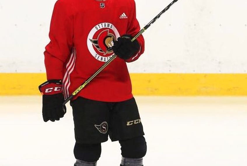 Ottawa Senator Rookie Ridly Greig during Senators development and rookie camp on Saturday.