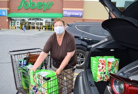 Neila Mullins of Bateson leaves Sobeys in Sydney after doing some grocery shopping early Monday afternoon. Although as of Wednesday masks will no longer be mandatory in indoor places in Nova Scotia, Mullins said she wore a mask before they were mandatory and will continue to wear one after the restriction is lifted. Sharon Montgomery-Dupe/Cape Breton Post